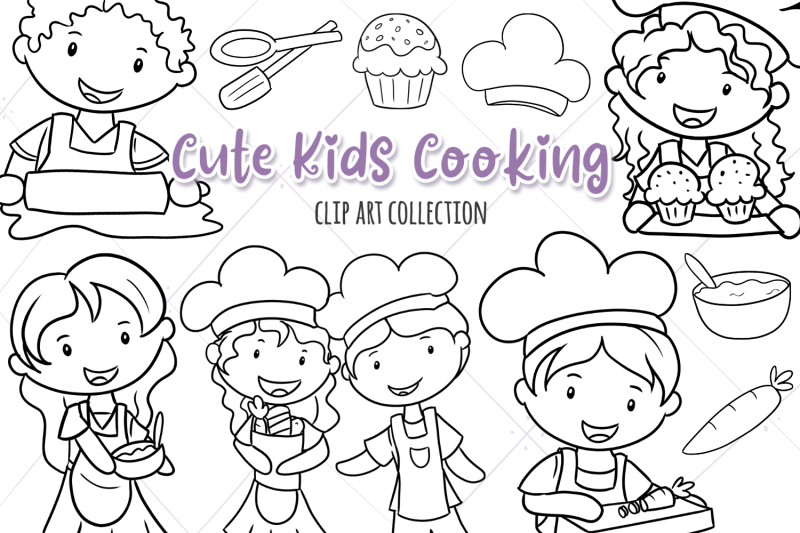 cute-kids-cooking-digital-stamps