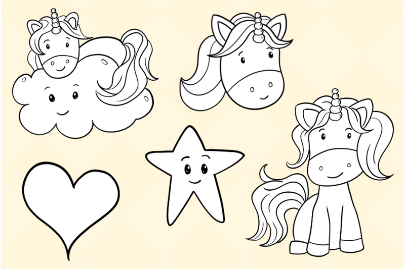 cute-unicorns-digital-stamps
