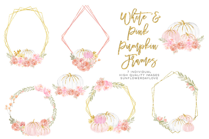 watercolor-floral-frame-clipart-white-and-pink-pumpkins