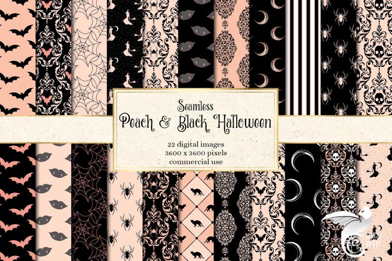 peach-and-black-halloween-digital-paper