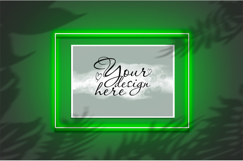 Free Mockup poster in a neon frame with a green glow (PSD Mockups)