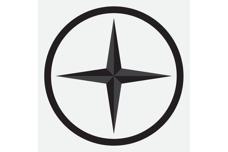 compass-star-icon-monochrome-black-white