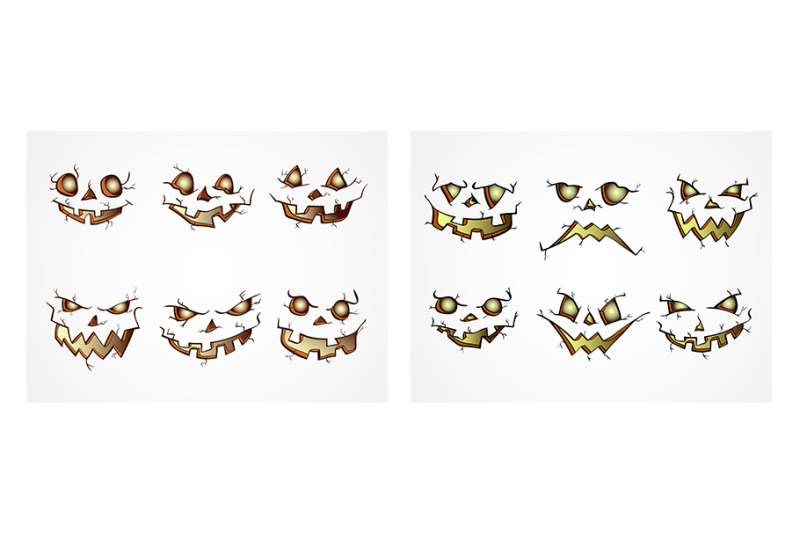 halloween-eyes-and-smiles-set-vector
