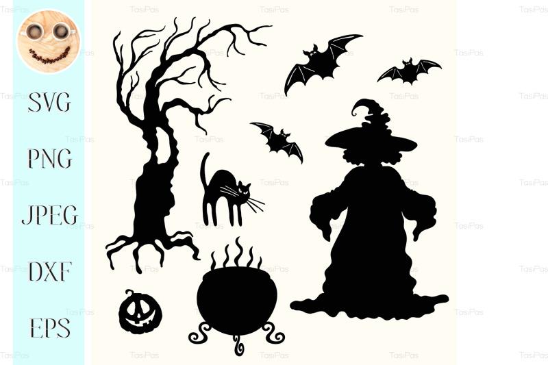 witch-pumpkin-lantern-tree-cat-cauldron-and-bat-stencil-nbsp