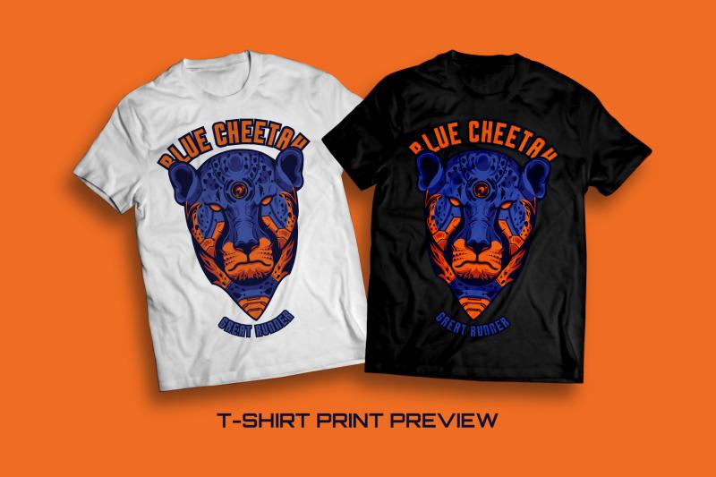 blue-cheetah-t-shirt-illustration
