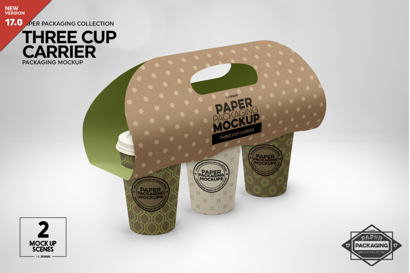 Free Three Cup Paper Carrier Mockup (PSD Mockups)