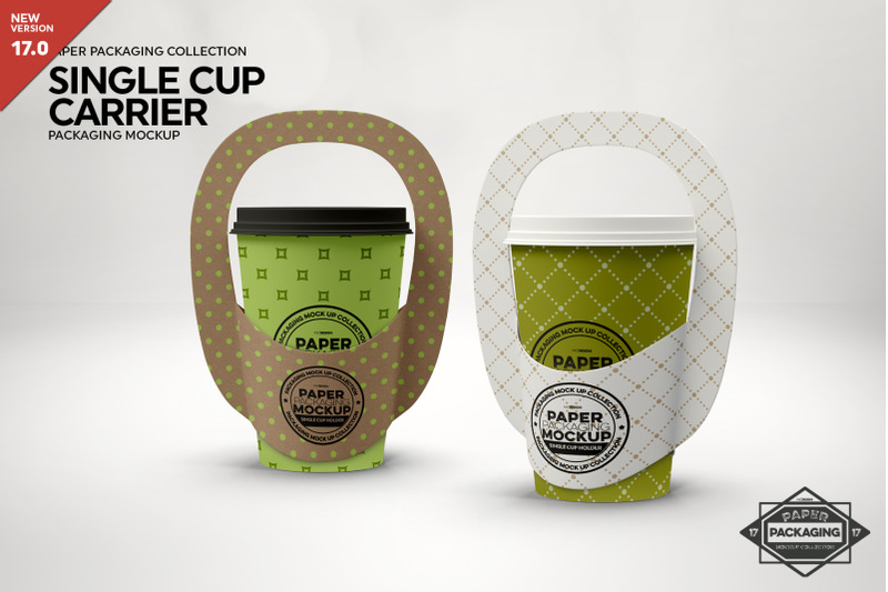 Free Single Cup Paper Carrier Mockup (PSD Mockups)