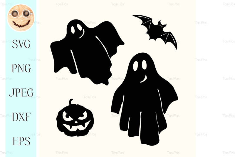 black-ghost-pumpkin-lantern-and-bat-stencil-on-white-nbsp