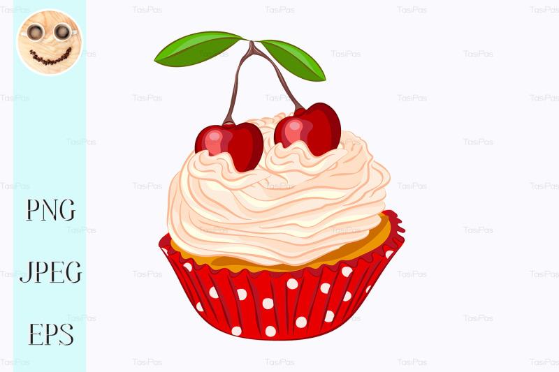 vanilla-cupcake-with-whipped-cream-and-cherry