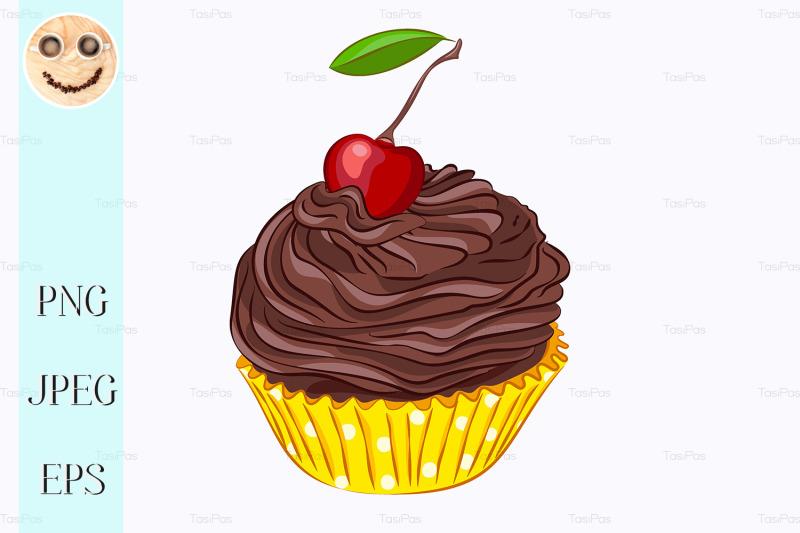 cupcake-with-chocolate-cream-and-cherry
