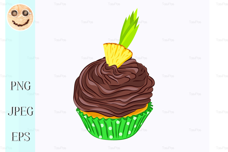 cupcake-with-chocolate-cream-and-pineapple