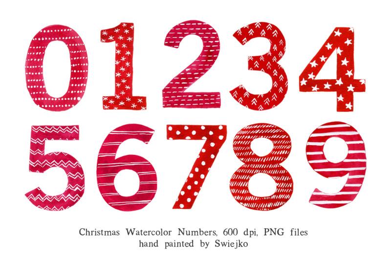 christmas-watercolor-numbers
