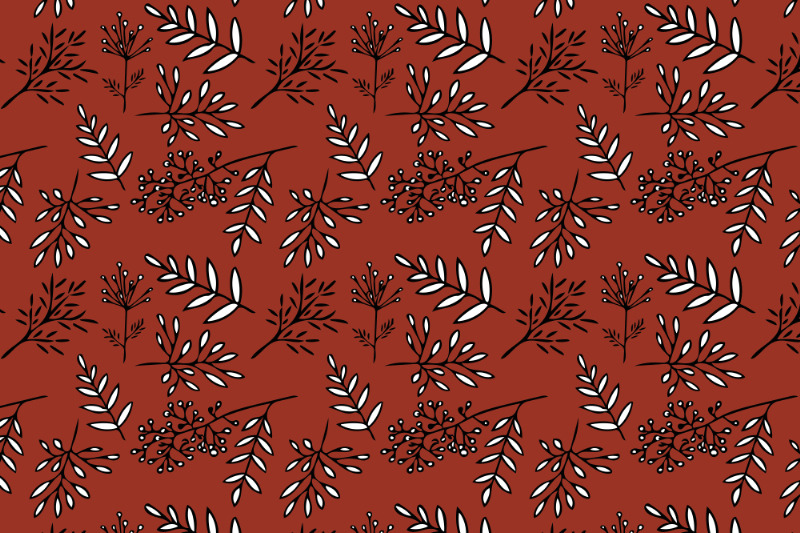 hand-drawn-autumn-leaves-pattern-on-a-terracotta-backgr
