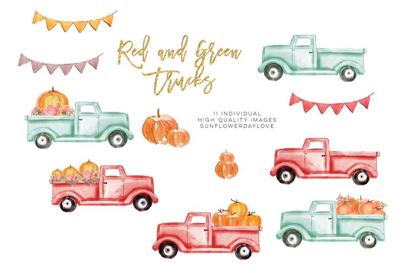 pumpkin-truck-clipart-watercolor-red-truck-pumpkins