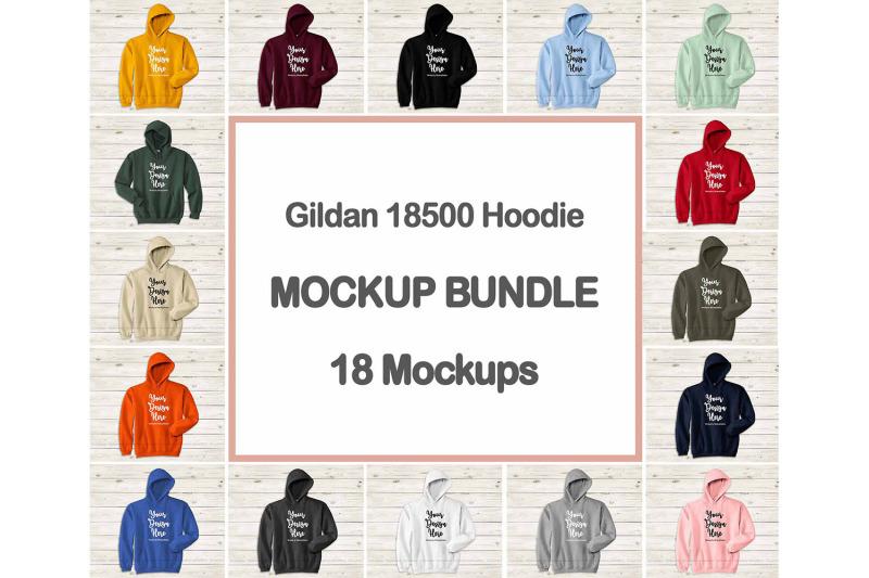 Free Hoodie Mockup Bundle, Gildan 18500 Hooded Sweatshirt Mock Up Flat Lay (PSD Mockups)