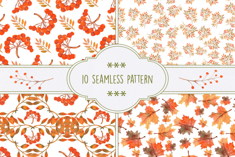 autumn-mood-10-seamless-patterns-with-autumn-leaves-berries-rowan