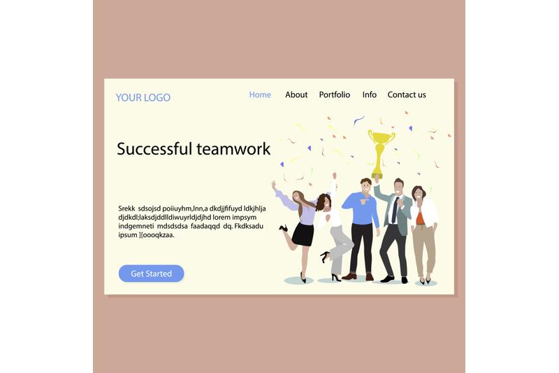 Free Successfull teamwork landing page (PSD Mockups)