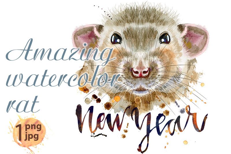 watercolor-portrait-of-rat-with-the-inscription-new-year-and-splashes