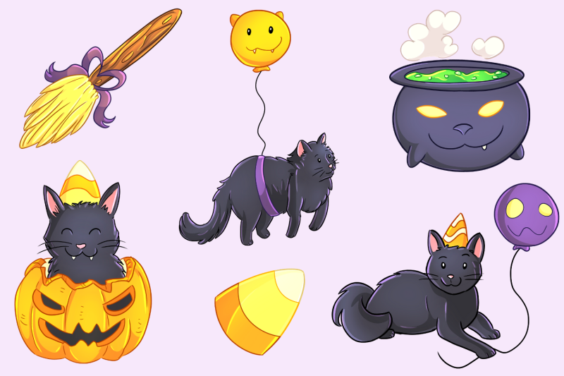 halloween-party-cats-clip-art-collection