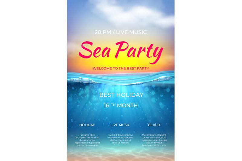 realistic-summer-poster-pool-party-design-ocean-underwater-scene-for
