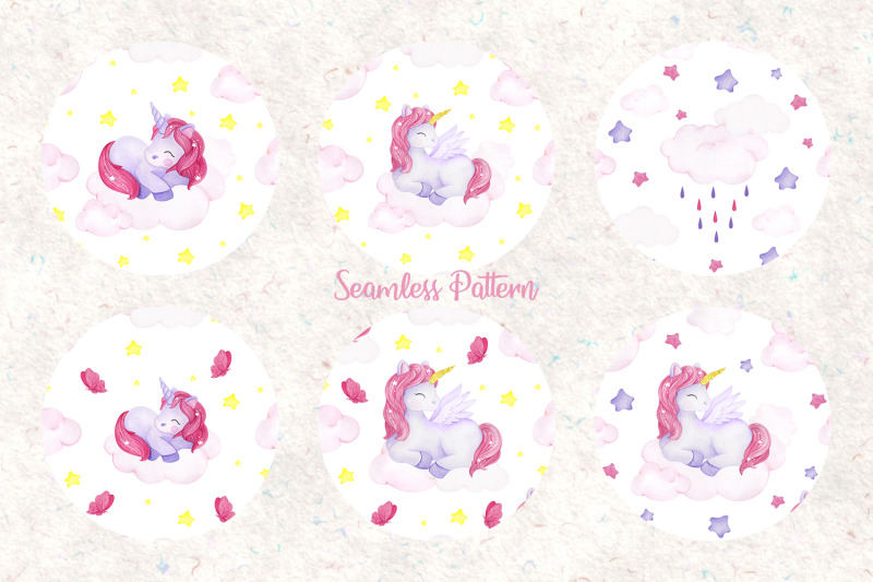 unicorn-set-watercolor-collection