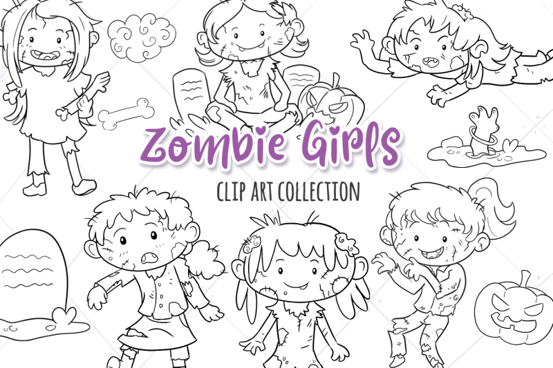 zombie-girls-digital-stamps