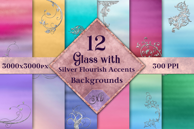 glass-with-silver-flourish-accents-backgrounds-12-images