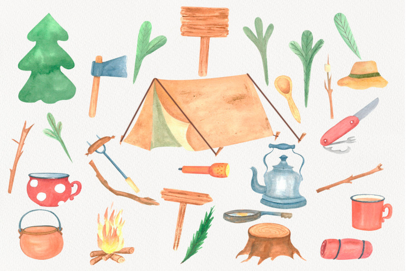 camping-clipart-watercolor