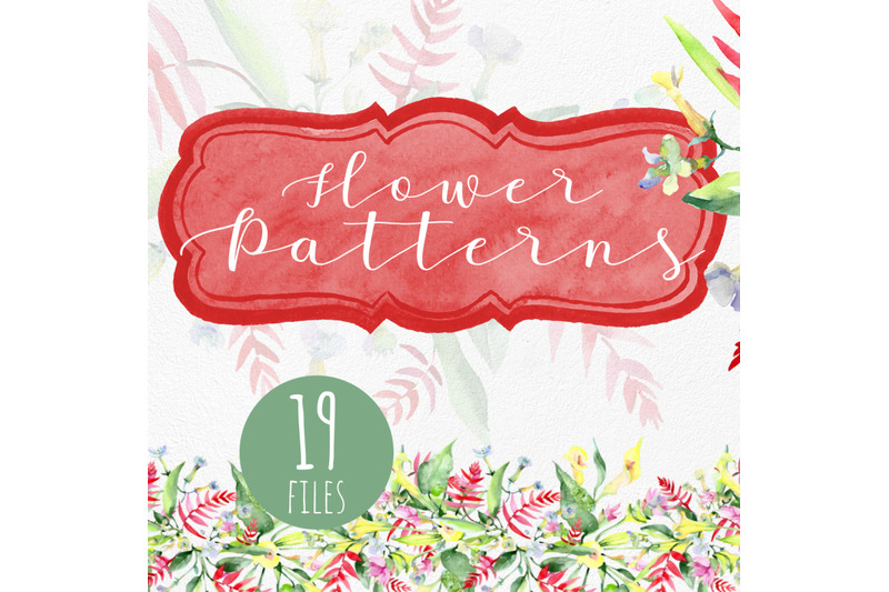bouquet-watercolor-and-pattern-background-png