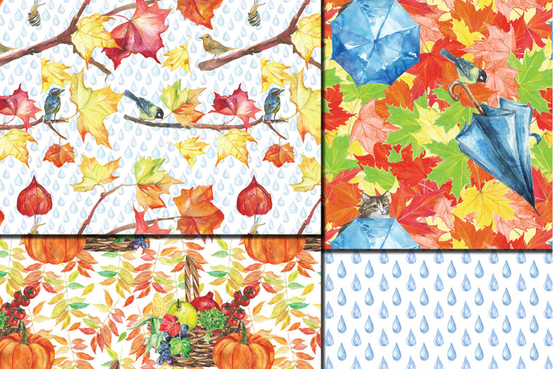 watercolor-city-in-fall-seamless-patterns