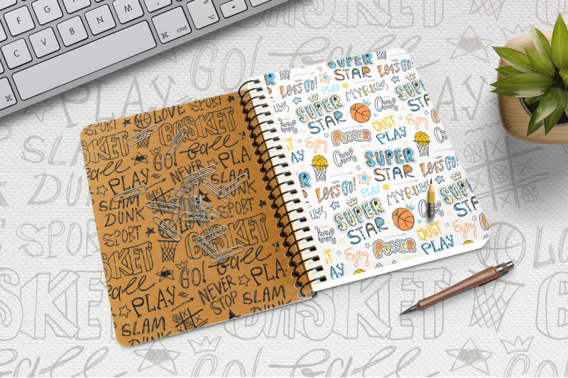 set-sketch-basketball-patterns