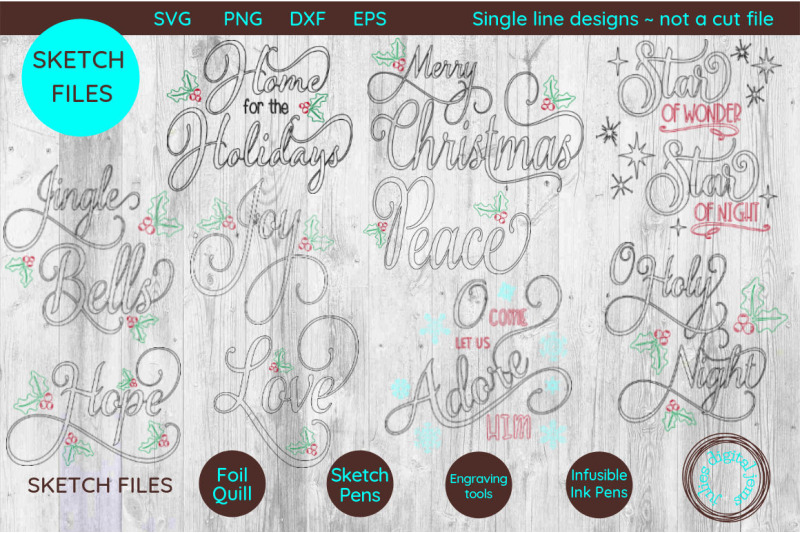 single-line-foil-quill-sketch-christmas-sentiment-bundle