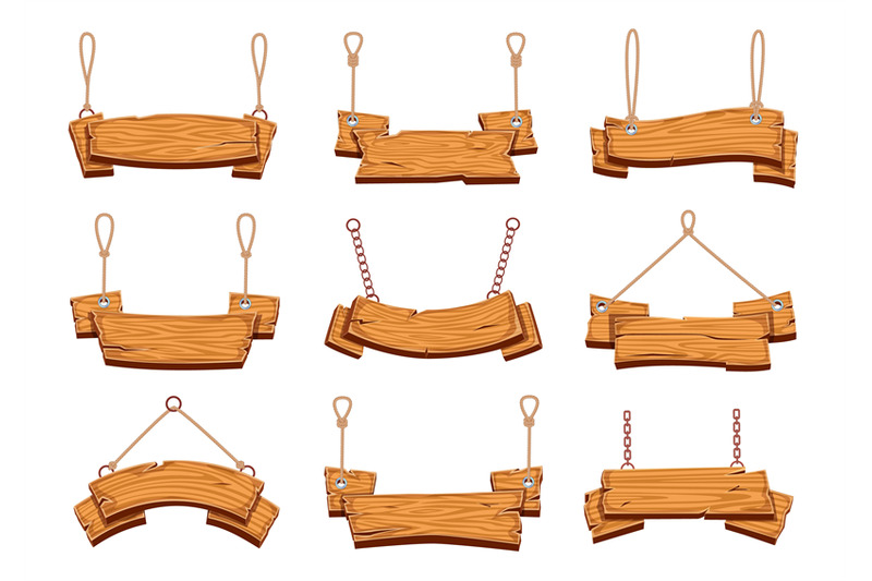 hanging-wood-signs-blank-wooden-signboards-banners-with-ropes-vintag