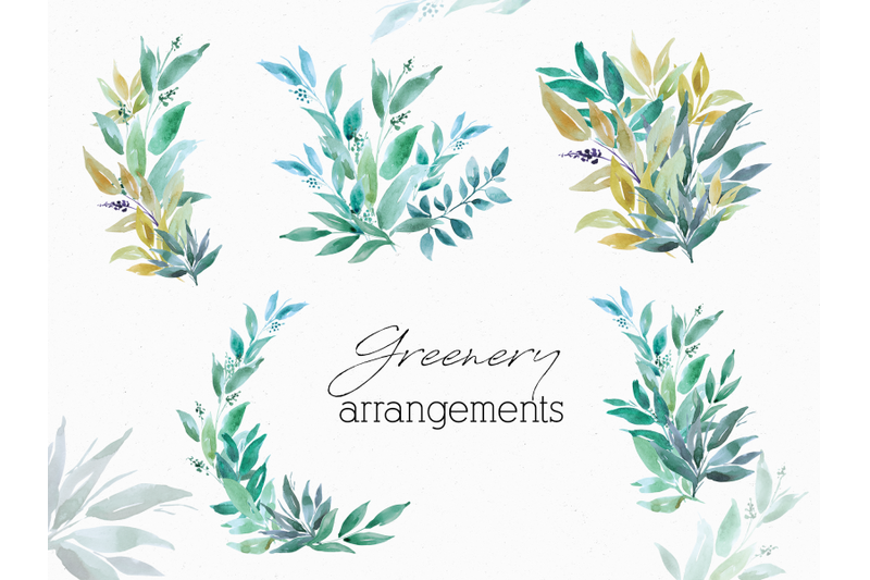 greenery-watercolor-clip-art
