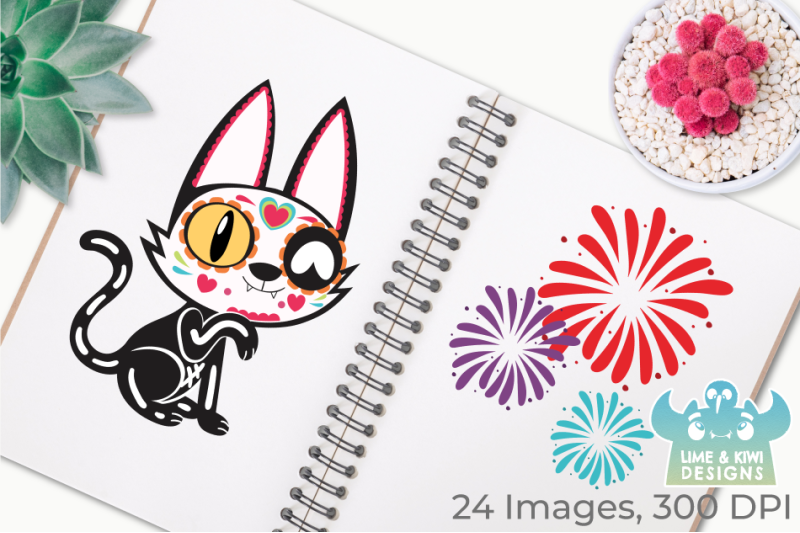 sugar-skulls-day-of-the-dead-cats-clipart-instant-download