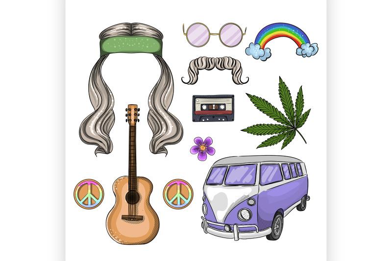 hand-drawn-hippie-attributes