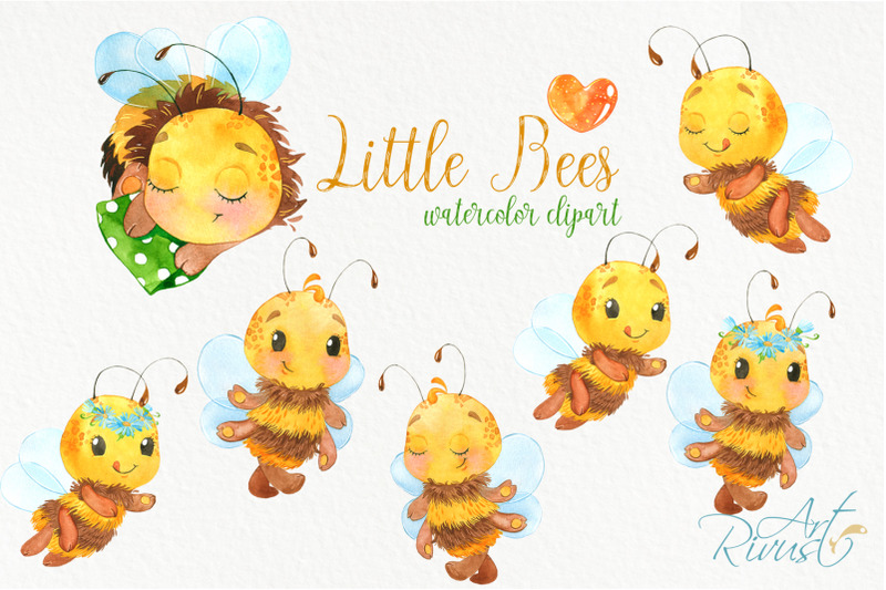 bees-cute-bee-watercolor-clipart-baby-animals-clip-art-bumble-bee