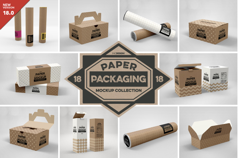Free VOL. 18 Paper Box Packaging Mockups (PSD Mockups)