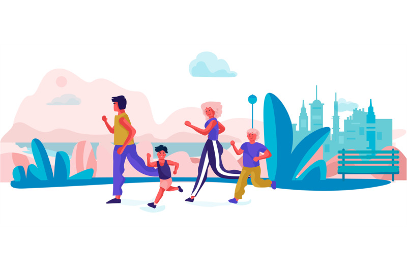 cartoon-family-running-in-park-parents-and-children-doing-exercises-s