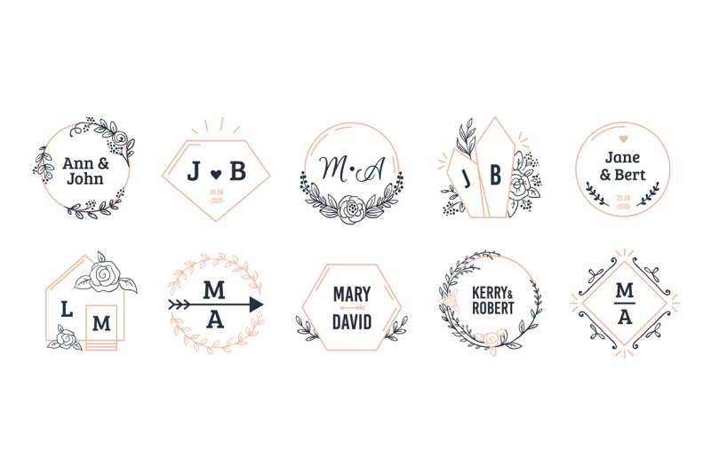 wedding-monograms-bohemian-hand-drawn-floral-and-polygonal-elements-f