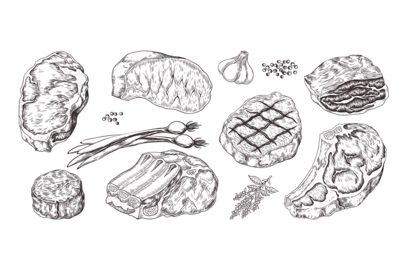 steak-vintage-sketch-with-beef-and-pork-chops-ribs-and-fillet-butche