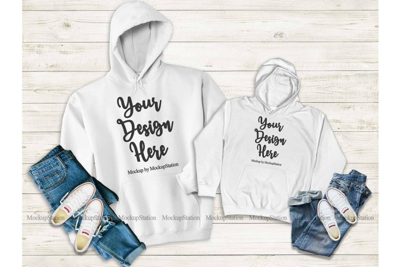 Free Mommy And Me White Hoodie Mockup, Matching Family Hoodies (PSD Mockups)