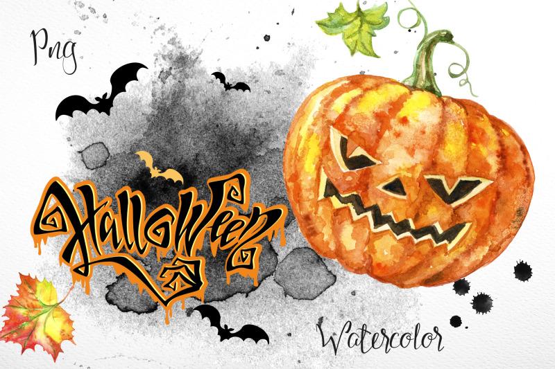 halloween-set-of-watercolor-clipart