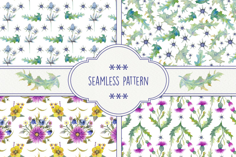 seamless-patterns-with-wildflowers-thistles-prickly-leaves-watercolor