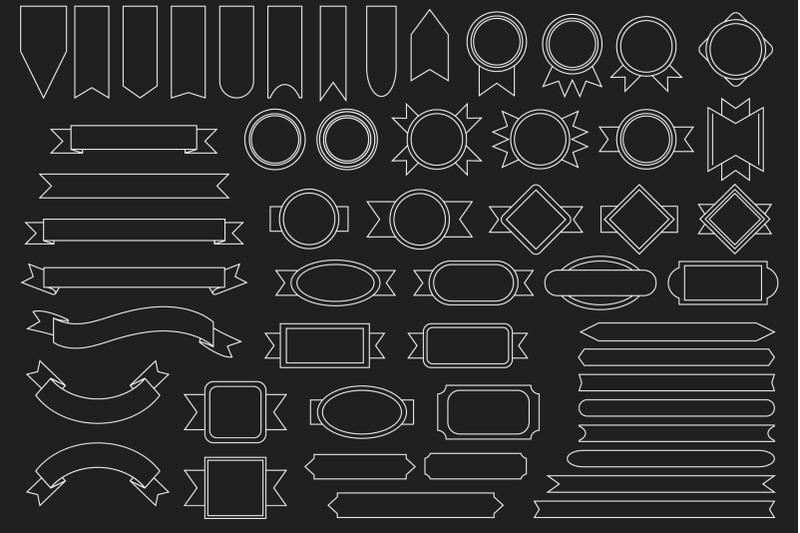 outline-badge-amp-banner-clip-art-set