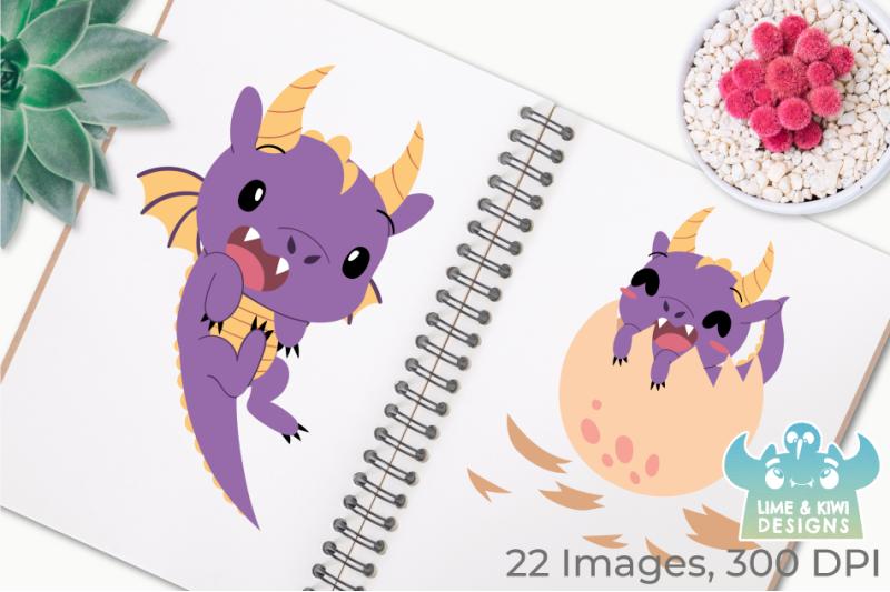 purple-dragons-clipart-instant-download-vector-art