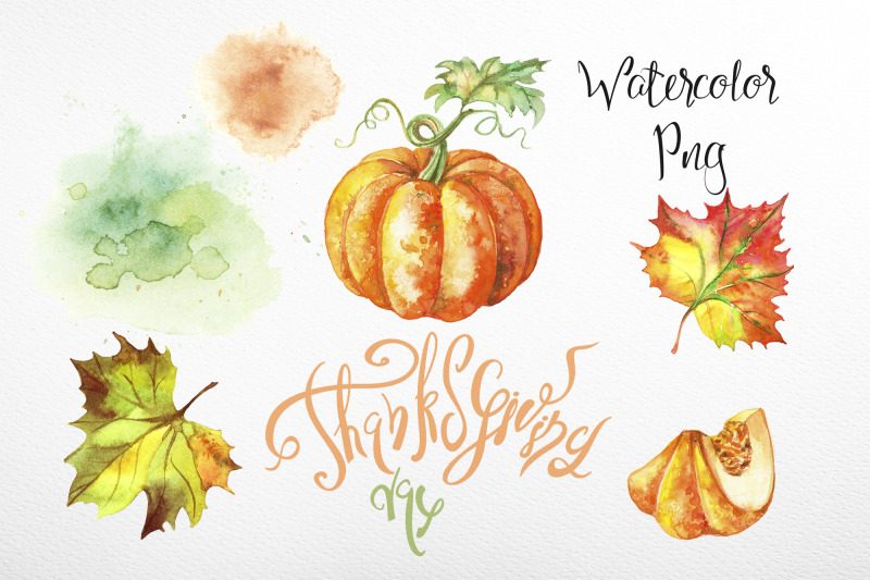 thanksgiving-day-set-of-watercolor-clipart