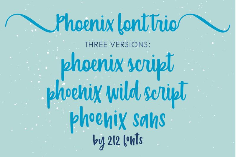 phoenix-script-font-trio-2-script-fonts-sans-serif-and-bonus-dingbat