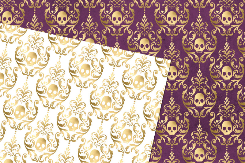 gold-skull-damask-digital-paper