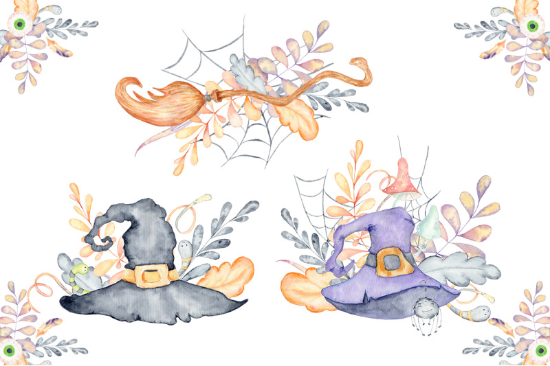 halloween-watercolor-bouquets-and-cards